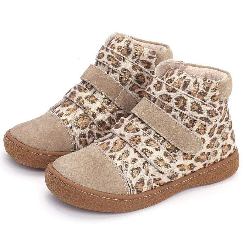 kids leopard ankle boots children Genuine Leather barefoot shoes high-top toddler girls and boys shoes for spring autumn 25-35