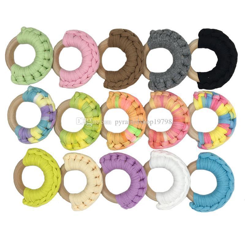 52 couleurs de qualité INS bébé de bébés en bois Teether Jouet en bois sain Cercle Tricoté dents tissu pratique Jouets Anneau de formation