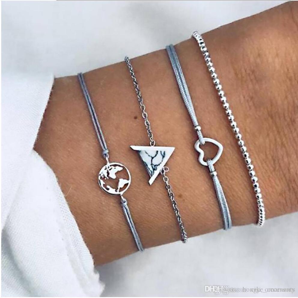 Bracciali Set 4 pezzi confezionare Mappa del mondo Triangle Heart accessorio Stone impostazione colore bianco-argento a catena tallone corda a placcato