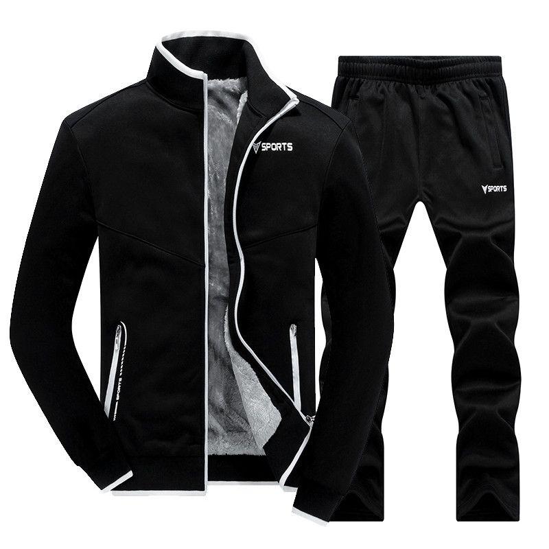 Nouvelle hiver Sets hommes plus de velours hommes de sport Set 2 pcs Veste + Pantalon Slim Survêtement Zip Pocket Male de chaud