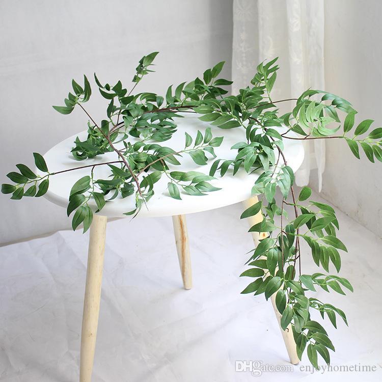 1.7M محاكاة الصفصاف كرمة ورقة الاصطناعي نباتات الكرمة وهمية النباتات ديكور المنزل زهرة اصطناعية من البلاستيك القش الخضرة سيروس