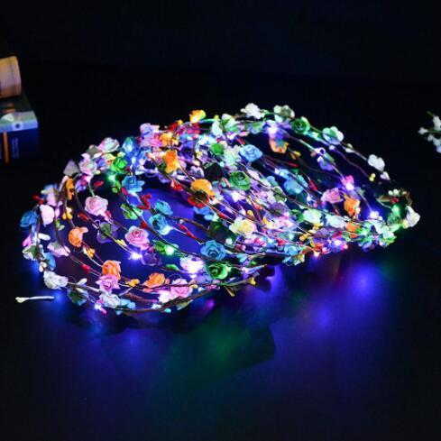 Blinkende LED Artificial Wreat Licht-Partei-Haar Garland Luminous Kranz Blumen Hochzeit Geschenke 7 Farbe WY461