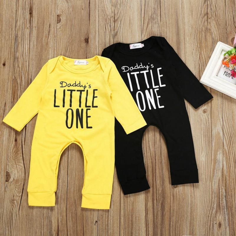 Bebek BoyGirl Bebek Giyim Uzun Kollu Harf Baskı Sonbahar Bebek Rompers Jumpsuit Kıyafet Yeni Doğum Bebek Giyim