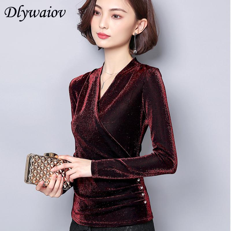 V Neck Blouse Women Fashion Temperament Gold Velvet button Plus Size Female Shirts Spring Korean Bottoming Long Sleeve Tops T200321