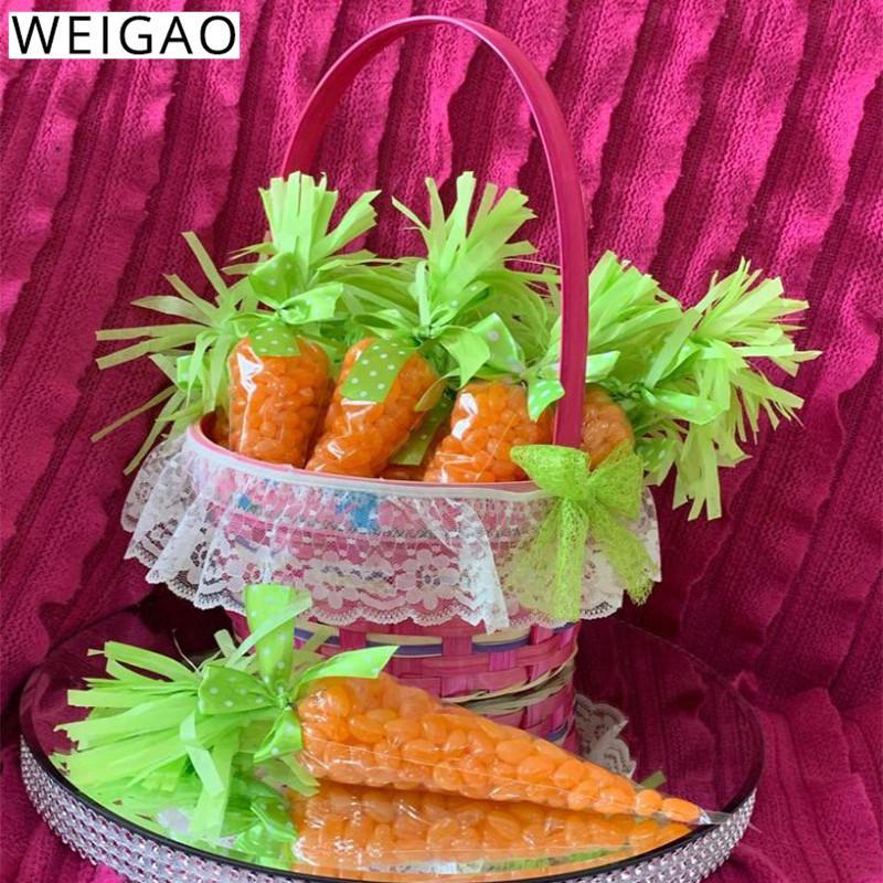 Weigao 20pcs partido de Easter Decoração Cenoura doces sacos do presente sacos Cones Transprant Plastic Bag Happy Easter decoração do partido