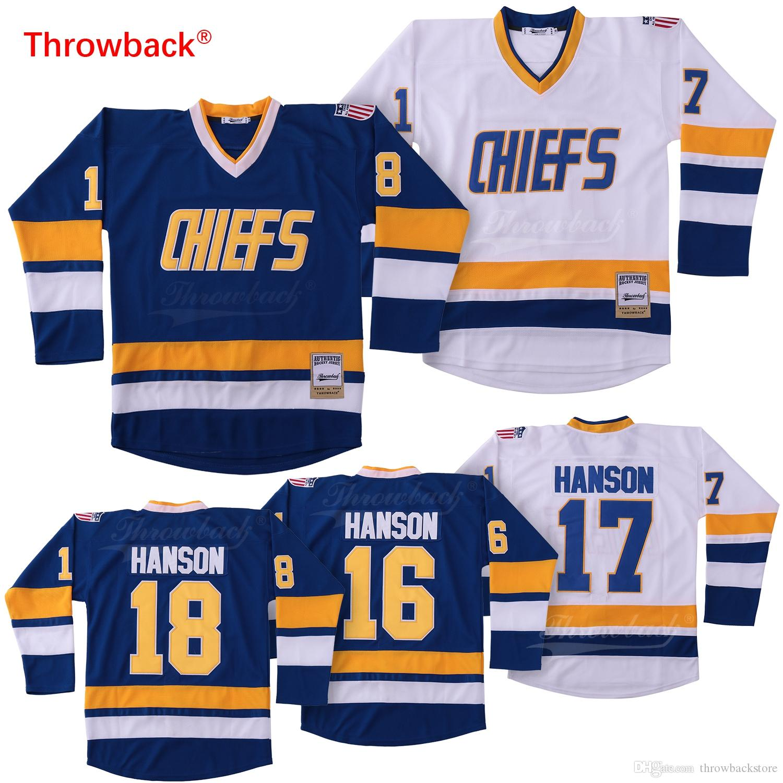 Cheap Hanson Brothers #16 #17 #18 Charlestown Chief Slap Shot White Blue Movie Hockey Jerseys Free Shipping