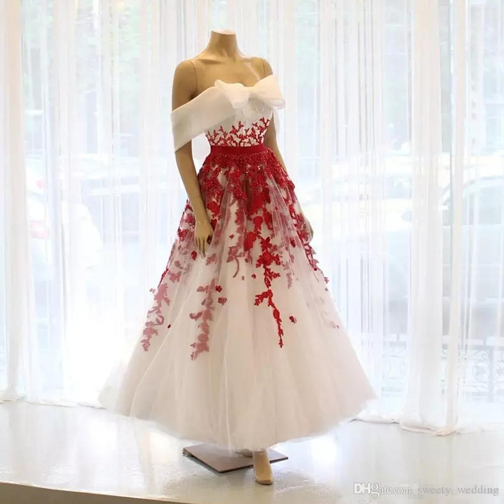 Eleagnt Ankel Length White And Red Prom Dresses 2019 Off Shoulder Big Bow Lace Appliques Short Party Evening Girls Special Occasion Wears