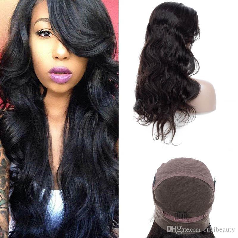 Peruaner 100% menschliches Haar volle Spitze Perücken Natürliche Farbe Body Wave Wigs 10-32inch Volle Spitze Perücken Virgin Haar Großhandel RUYIBEAUTY