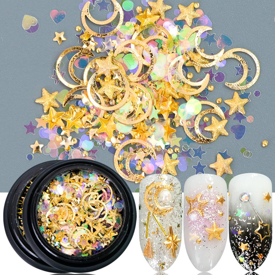 hinestones & Decorations 1box 3D Nail Art Decorations Stud Glitter Flakes Gold Silver Nail Rhinestones Stone DIY Nails Accessories Manicu...
