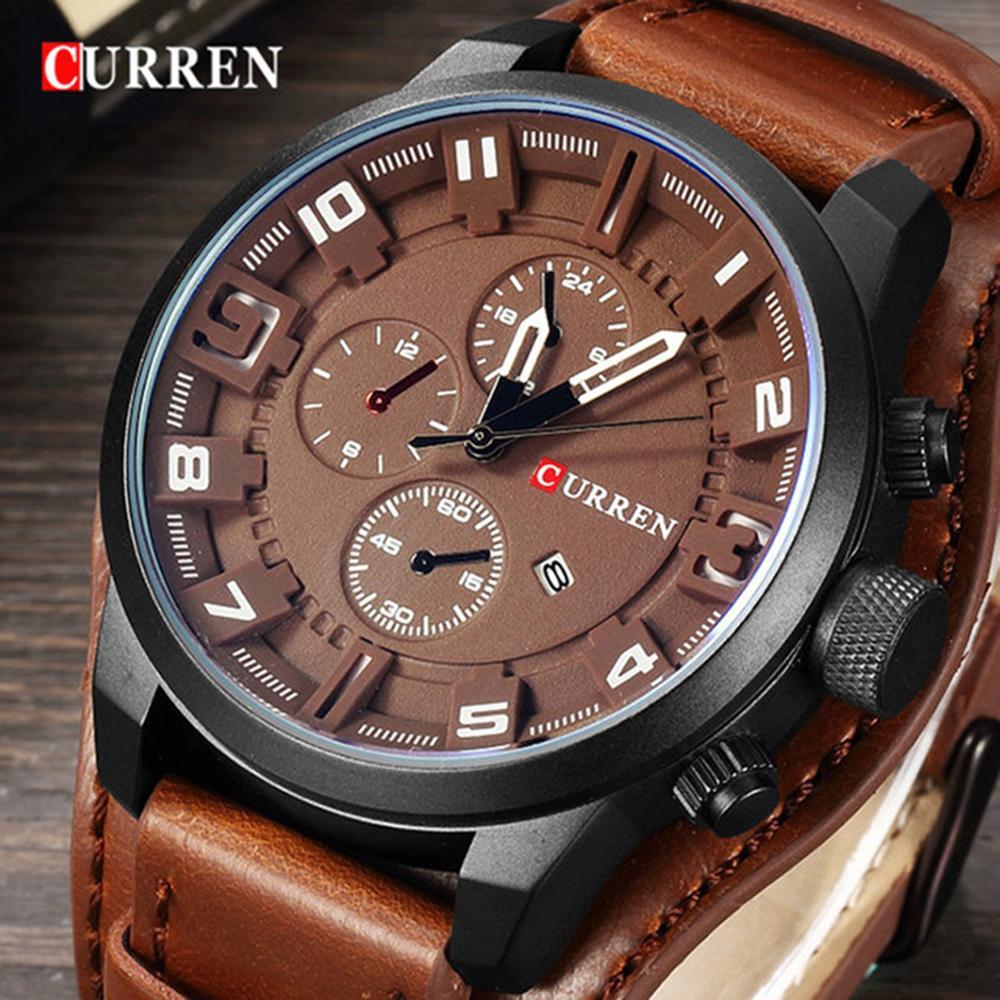 CURREN 8225 Mens orologi impermeabile superiore di marca di lusso del calendario di cuoio di modo maschio Orologio Sport Militare orologio degli uomini Dropship