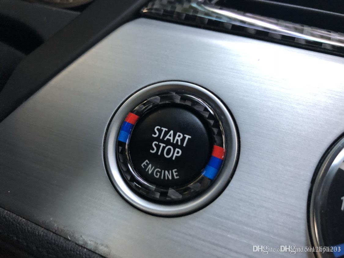 BMW E90 E92 E93 탄소 섬유 자동차 엔진 시작 스톱 링 M 스트라이프 트림 서클 점화 키 링 3 시리즈 액세서리에 대한 10pcs
