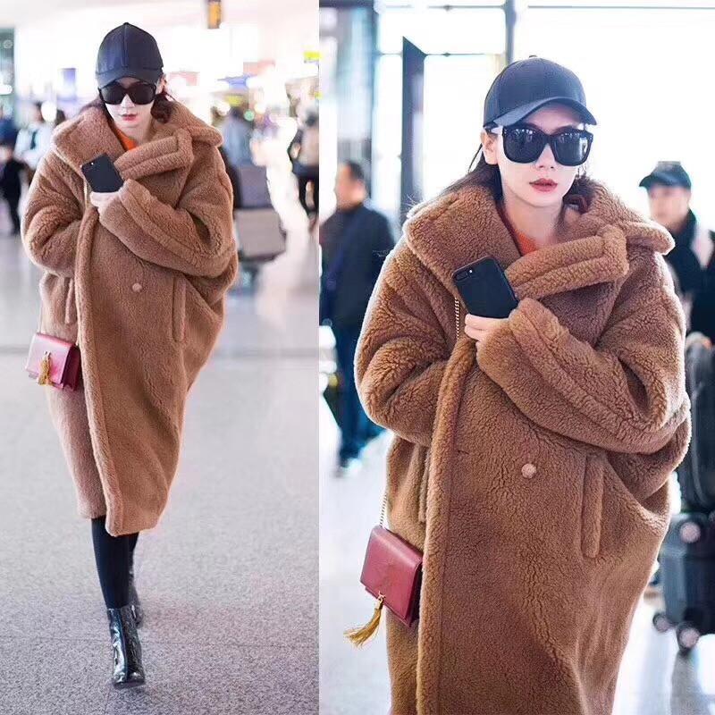 boyut kış kadınlar coatMX191009 üzerinde PINK JAVA QC1848 yeni varış ücretsiz gönderim gerçek koyun kürk uzun tarzı yün ceket deve oyuncak ceket