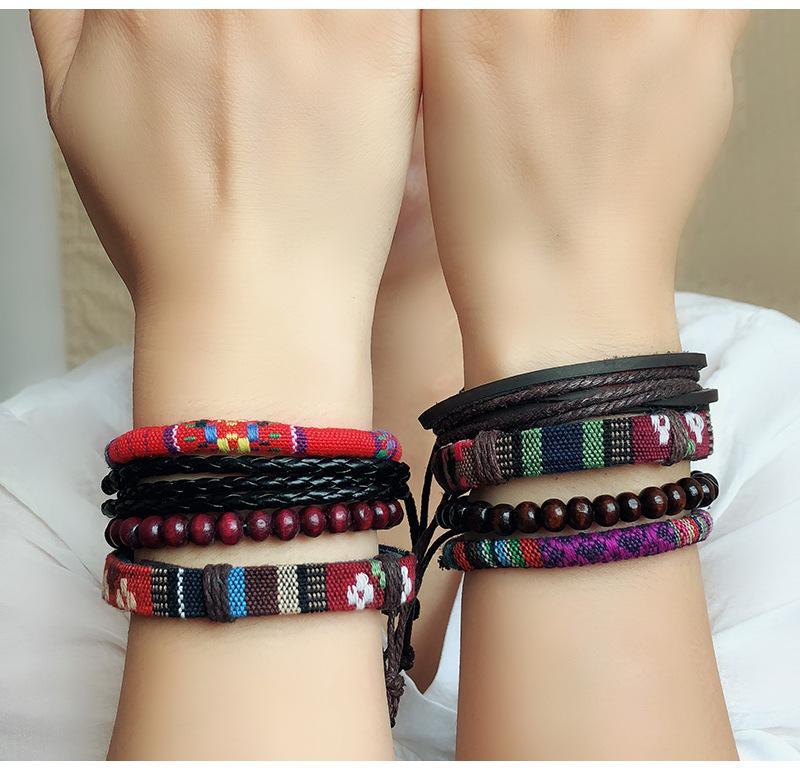 ABL065 (1), Multicouches colorées à la main en bois coton perlé cordon corde en cuir corde brins amitié couple Bracelet