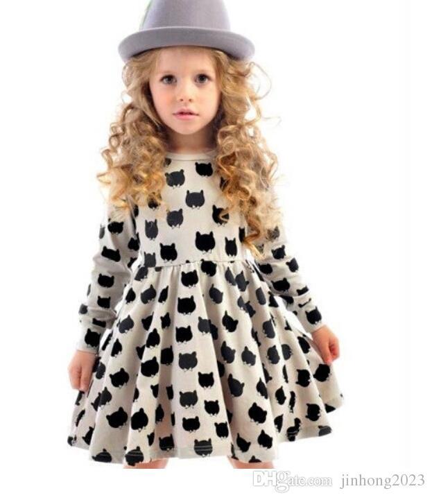 Mädchen Sommerkleid Blumen Regenbogen Gedruckt Kinder Blume Kleid Baumwolle Lässig Kleinkind Kleid INS 2019 neue Baby Schwarze katze Kleidung