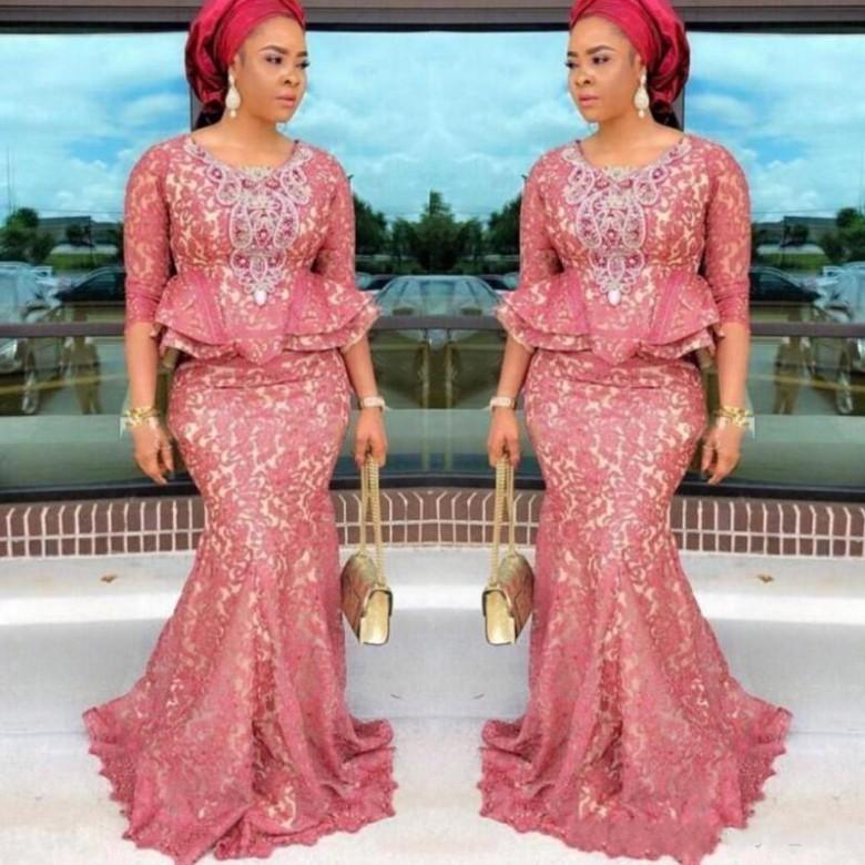 Aso Ebi Nigeria Art-Spitze lang arabische formale Abendkleider 2020-Abschlussballkleider lang 3/4 langen Ärmeln Peplum Partykleid