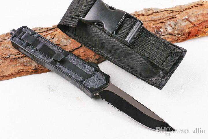 regalo DHL nero maniglia AUTO coltello Drop Point metà dentatura lama di caccia EDC coltello da tasca di sopravvivenza della lama di natale per gli uomini