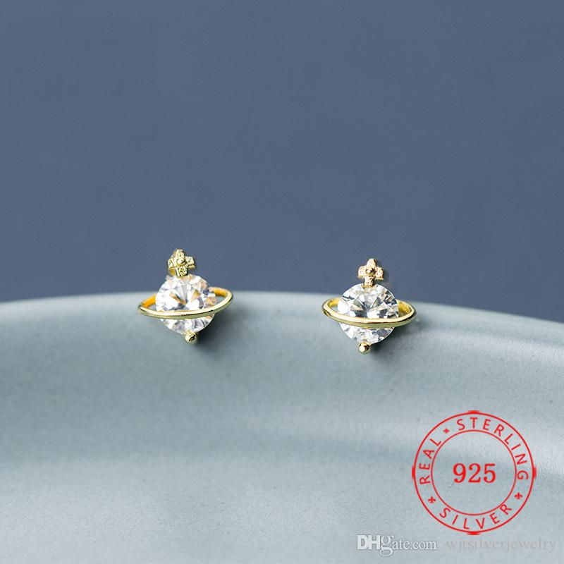 골드 도금 실제 S925 스털링 실버 행성 스터드 귀걸이 기념일 Alegant Fashion 중국에서 만든 작은 보석 도매