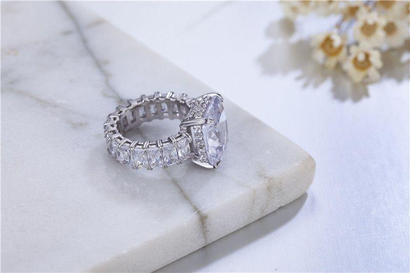 Роскошное серебро 925 пробы проложить лучистую огранку полный квадрат имитация Алмаза CZ вечность группа обручальное обручальное кольцо камень