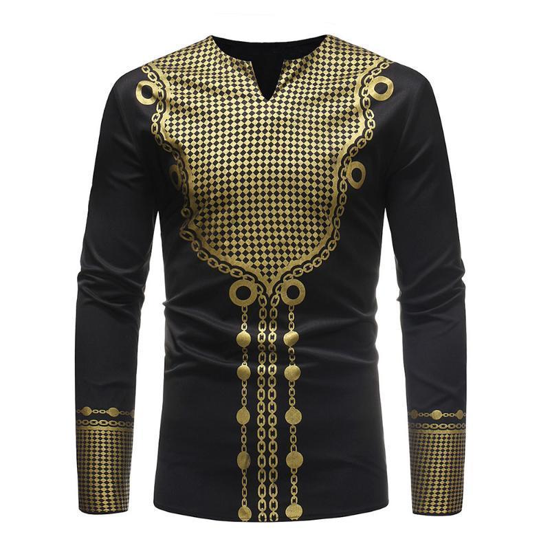 Erkekler'S Z0306 için Erkekler'S Sonbahar Kış Lüks Afrika Baskı Uzun Kollu dashiki Gömlek Bluz Geleneksel 2020 Full Gömlek