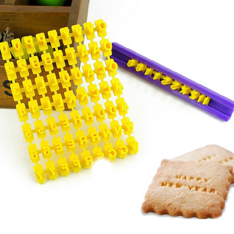 1PCS Number Cake Mould DIY Alphabet Letter Impress Biscuit Cookie Cutter Press Stamp Embosser Fondant Mold Baking Tool TSLM1