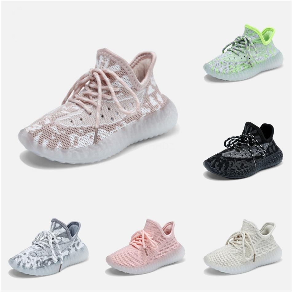 Los niños de calidad superior Kanye West 35O extranjero niebla 3M reflectante diseñador del niño de las zapatillas de deporte de la arcilla Beluga Triple Negro White Boys Gilrs Zapatos # 635