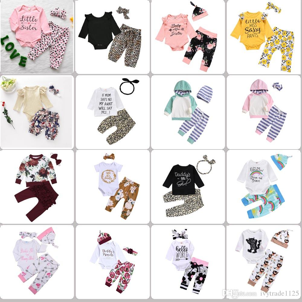64 estilos New Baby Girls 3 piezas Sets Romper Kids Girls Flower Rainbow Print Camisa + Pantalón + Diadema Bebé Niños Conjuntos