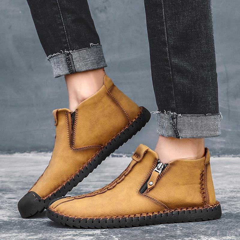 Mens sapatos de caminhada Masculino Botim Quente High Top Botas Man clássico Zipper Handmade macia Flats Sneakers Calçados Big Size 38-48