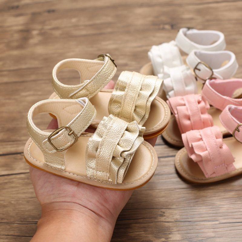 Summer Baby Girl bowknot Sandales Anti-Slip Lit Chaussures Semelles souples Chaussures Prewalkers Fleurs bébé