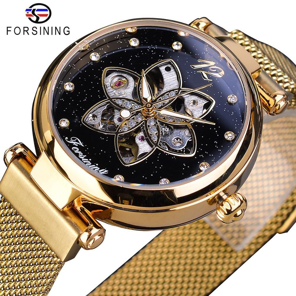 Forsining Новое прибытие Mehanical женщин Часы Top Brand Luxury Gold Алмазная Mesh водонепроницаемый Женский часы моды женские часы