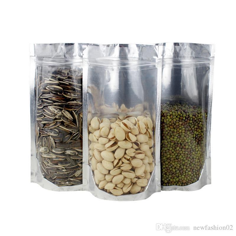 300 pz multi-dimensioni traslucido e argento foil stand sacchetto della chiusura lampo risigillabile trasparente e foglio di alluminio pacchetto sacchetto di immagazzinaggio cibo sacchetto del sacchetto