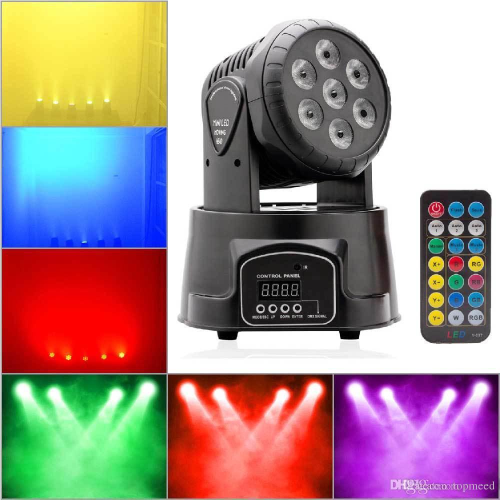 전문 RGBW 믹싱 컬러 DMX-512 미니 이동 헤드 라이트 7 LED 디스코 빛 DJ 장비 DMX LED 조명 스트로브 무대 조명