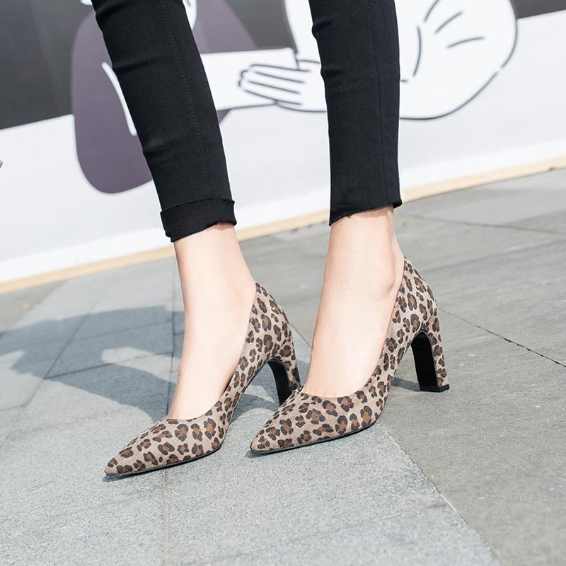 New Womens Leopard Leather High Heels
