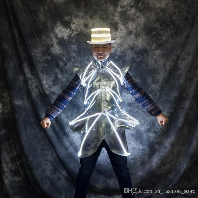 P74 Party dance dress led light costumes stage wears luminous hat DJ luminous jacket glowing outfits disco clothe singer led hat party show