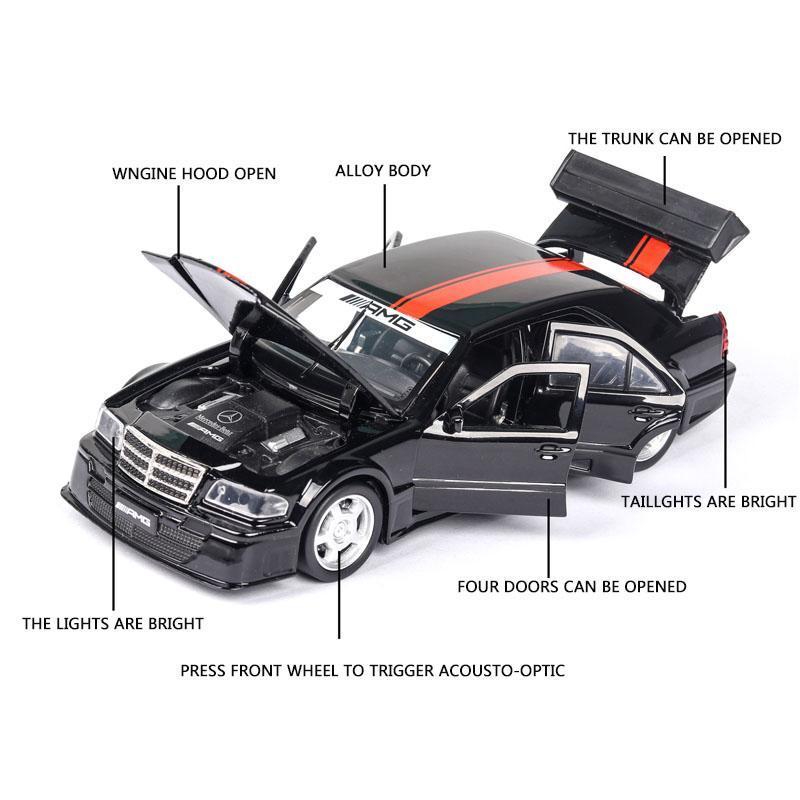 01:32 Mercedes Benz W201 AMG voiture modèle de voiture en alliage coulé sous Toy modèle de voiture et son Light Toy Enfants Objets de collection Livraison gratuite
