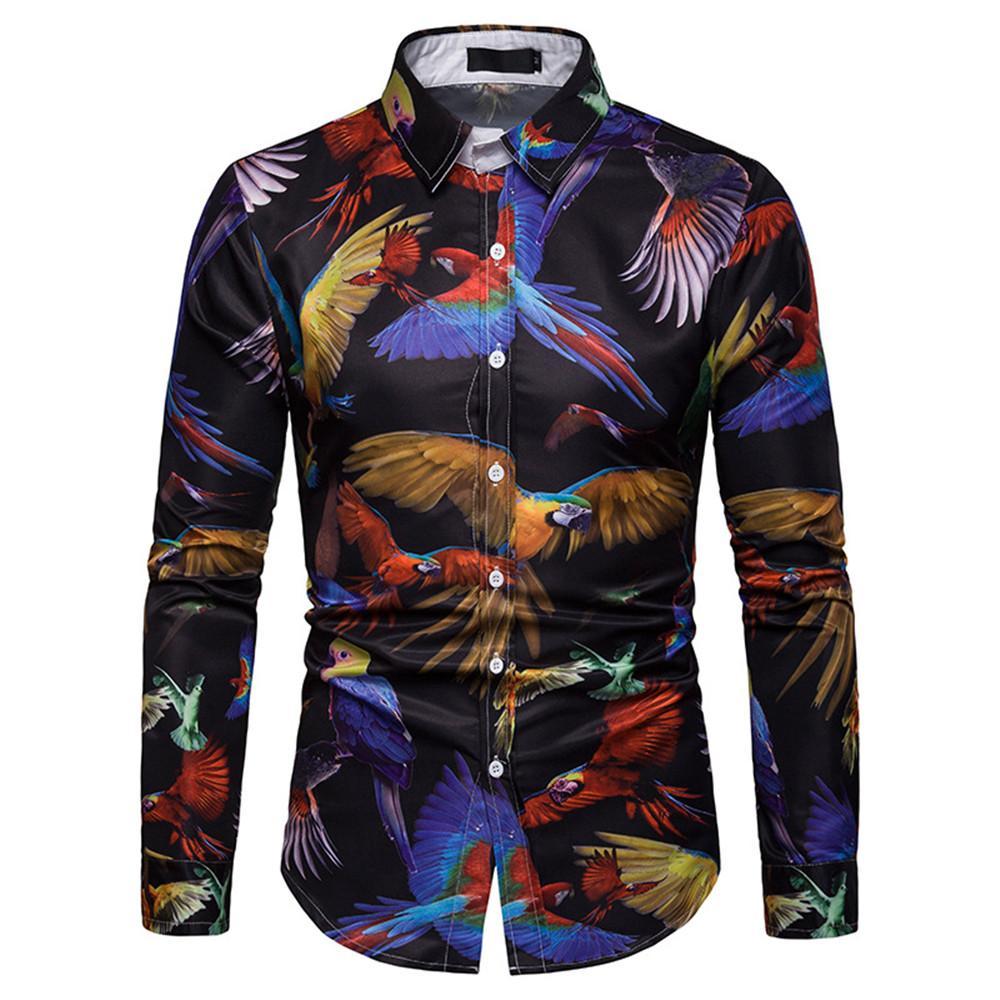 Mens Vintage Parrot Отпечатано рубашка Elegant партии Одежда с длинным рукавом Мужской Блуза Turn-вниз Европа Стиль Тонкий Tops