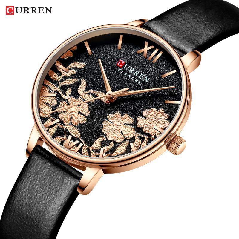 CURREN cuir femmes Montres 2019 Belle conception unique cadran bracelet à quartz horloge Femme Fashion