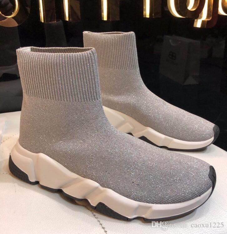 19y Bleu Chaussette Chaussures Hommes et Femmes Chaussures Casual Course Partants Vitesse Chaussettes Slip-on Chaussures unisexe noir avec boîte Sneakers DHL Livraison gratuite