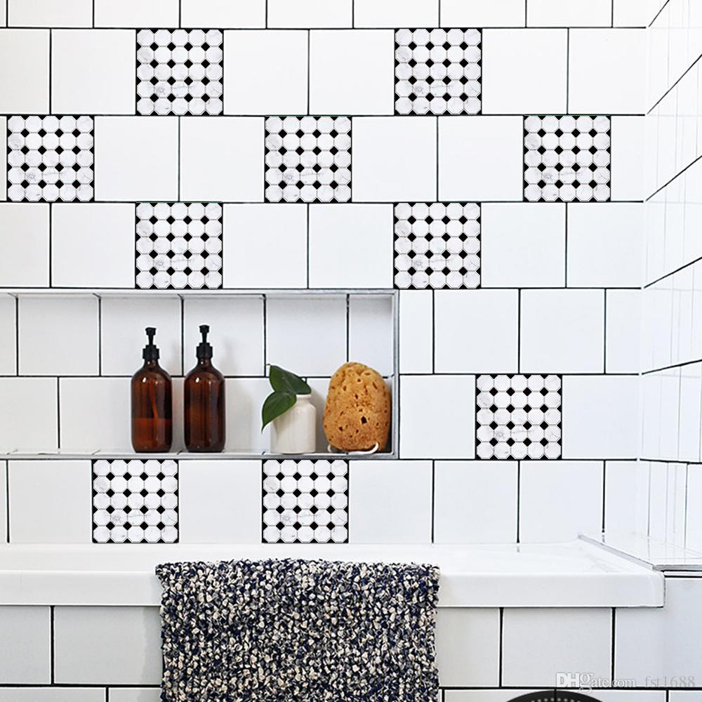 Carrelage Mural Noir Et Blanc Cuisine acheter noir et blanc motif de mosaïque papier peint meubles cuisine salle  de bains carrelage autocollant mural pvc diy diy art imperméable À leau
