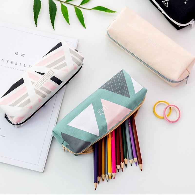 Casos de lona estrellada Escuela SkyCase para Suministros chica papelería lápiz Geometría Big Bag Negro Pen Box School