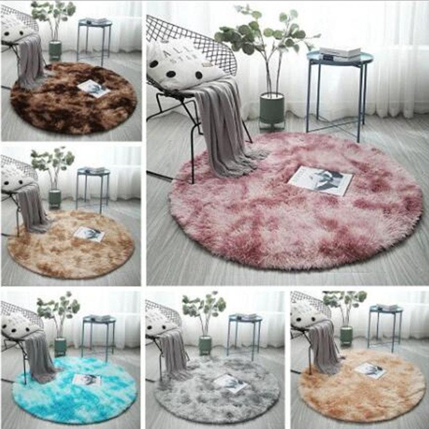 7 couleurs tapis de chambre tapis de chevet Table ronde nordique vie tapis épaississement maison chambre café couverture long tapis de chambre lavable cheveux