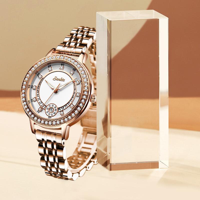 SUNTKA Klasik Kadınlar Bracele Saatler En Saatler İçin Kadınlar Elbise Su geçirmez Rose Gold Bayanlar izle