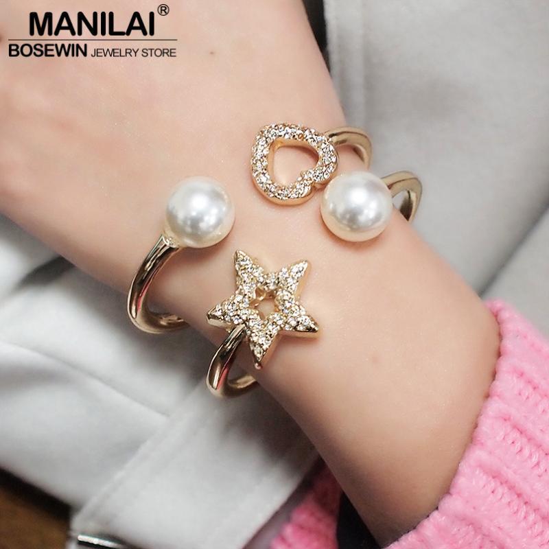 Brazalete MANILAI imitación de la perla de la estrella para la joyería de las mujeres del metal del encanto del corazón del Rhinestone pulsera de moda