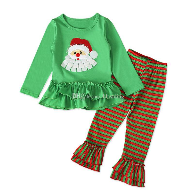 Natale dei bambini Set di abbigliamento Ragazze Babbo Natale Stampa maniche lunghe Top + Striped chiarore del merletto pantaloni 2pcs / set di Natale Pigiama Kids Clothes M655