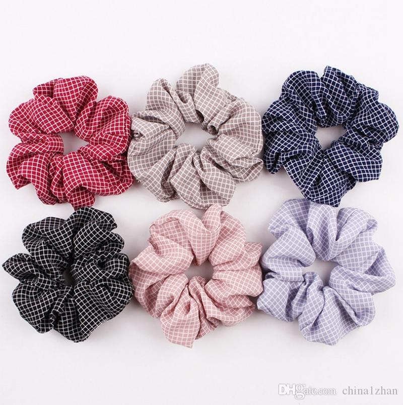 Scrunchies Hairband tela escocesa de lazos del pelo de cuerdas elásticas Bobble Deportes Hairbands niñas Ponytail de la moda de los accesorios del pelo 6 diseños DW2114