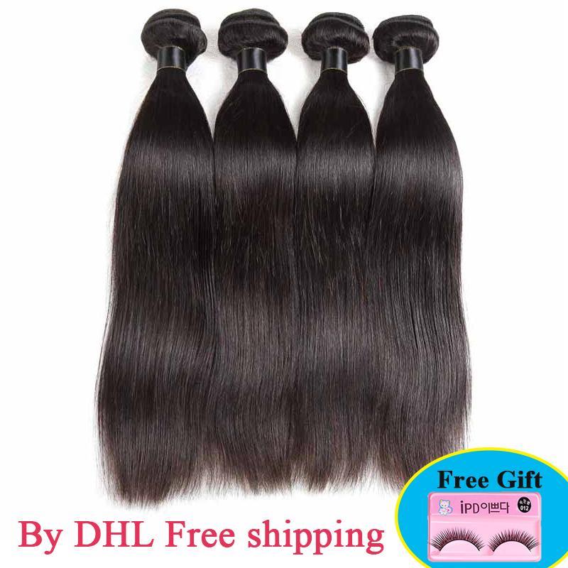Peru Virgin Cabelo Liso 100% não processado brasileiro peruana indiana Extensões de cabelo humano tecem extensões Cabelo Liso Humano 3 / 4pcs