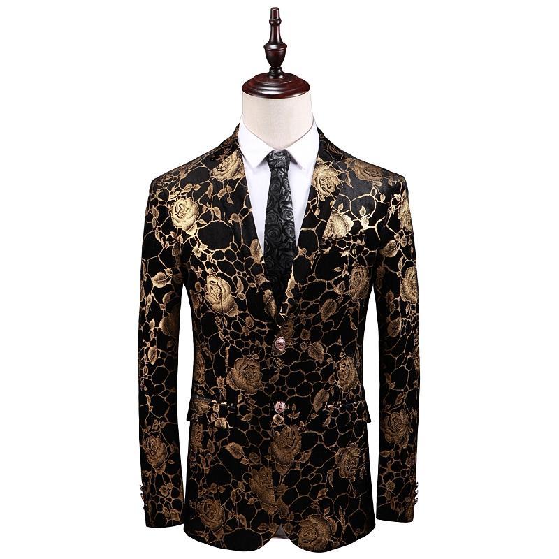 MIXCUBIC 2019 spring Europen style unique gold flower printed suit men casual Slim Digital printed suit for men size M-5XL