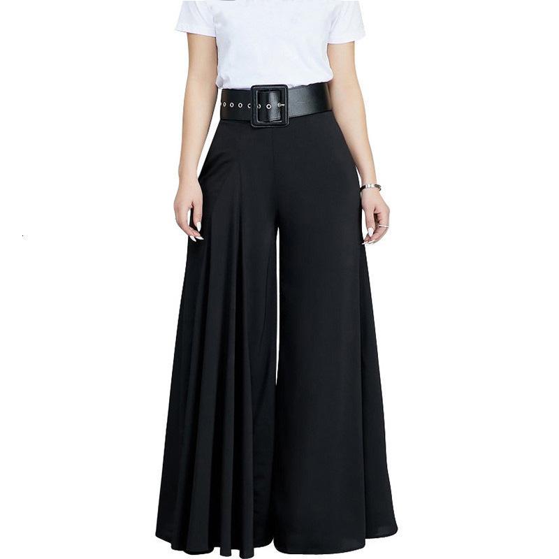 Cepler DT191030 olan kadınlar Casual Gevşek Pileli Geniş Bacak Pantolon Palazzo Pantolon Sonbahar Hight Bel Şık Pantalon Ofisi Bayanlar Pantolon