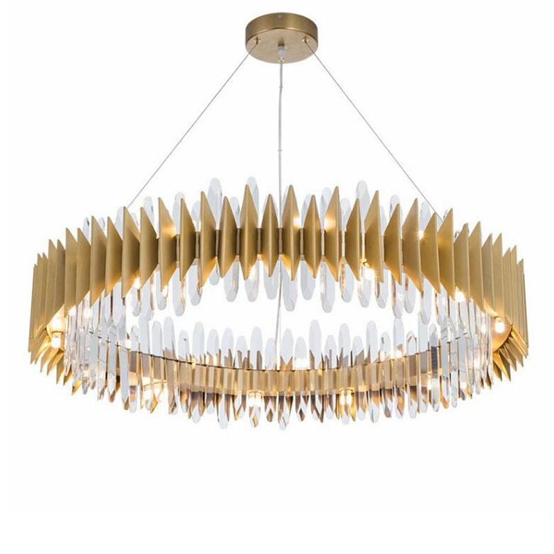 غرفة المعيشة تصميم جديد الطوق الذهبي LED ثريات كريستال الثريا مصباح الحديثة كريستال الذهبي أضواء AC 110-240V