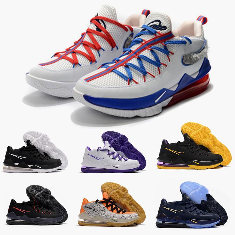2020 Высокое качество XVII 17 Низкий Slam Dunk Спорт Mens Basketball обувь Мрамор Черный Фиолетовый Леброн 17S Sports кроссовки корзины Zapatos