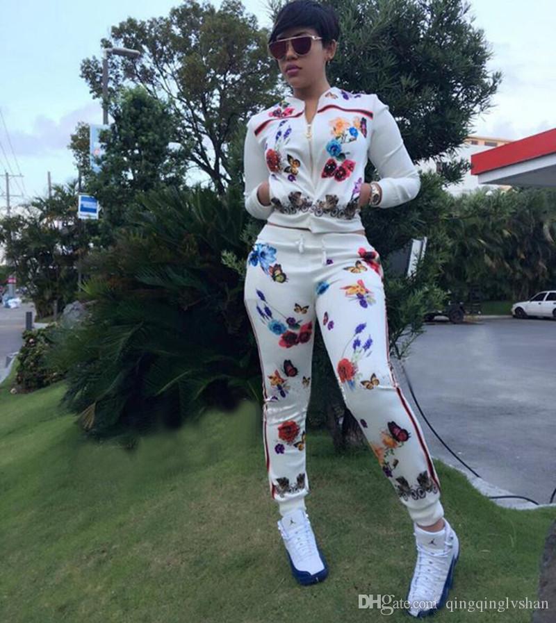 여성 옷은 꽃 무늬 운동복 2 종 세트 의상 재킷 레깅스 바지 운동복 겉옷 긴 소매 스웨터 코트 스포츠웨어